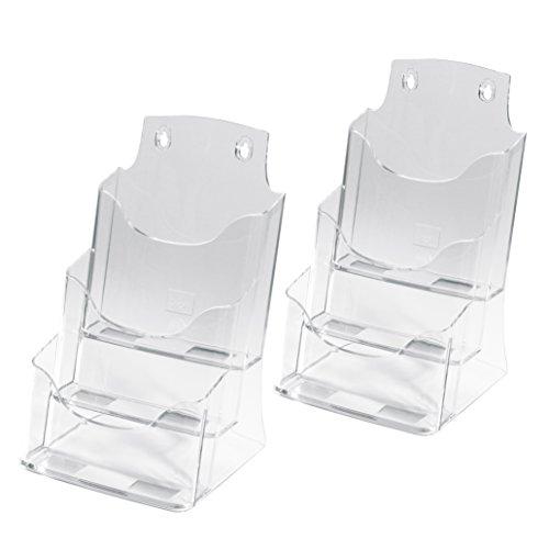 Sigel LH132 Tisch-Prospekthalter/Prospektständer / Flyerhalter aus Acryl mit 3 Fächern, DIN A5, 2...