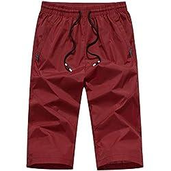 Alaso Short Homme 3/4 Court Pantalons Grande Taille Eté Casual Elastique Cordon de Serrage Séchage Rapide Pantalons de Sport Pantacourt