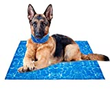 EXPAWLORER Dog Cooling Mat and Cooling Bandana - Non-Toxic Dogs Self-Cooling Ice Gel Pad & Ice Chill Out Scarf in Summer for Kennels, Crates and Beds X-Large