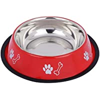Naaz Pet Supplies Stainless Steel Dog Bowl Bone/Paw (Red, Extra Large, 1500ml)
