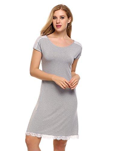 Ekouaer Damen Nachthemd Nachtwäsche Sleepwear Sommer Kurzarm Baumwolle O-Ausschnitt Nachtkleid Sleepshirt Spitze getrimmt Patchwork Schwarz/Rosa/Grau((S-XL)