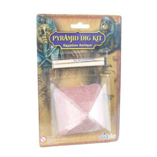 Each Egyptian excavation kit comes with a pyramid shaped block a digging tool and a brush.  The block is made from a mixture of polyresin sand gypsum and clay.  Inside each Egyptian Pyramid block is an Ancient Egyptian treasure.  There are 6 to co...