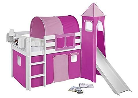 Lilokids Spielbett Jelle mit Turm, Rutsche und Vorhang Kinderbett, Holz, Weiß, 198 x 98 x 113 cm