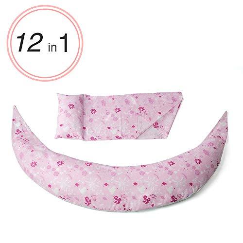 Nuvita 7100 DreamWizard Coussin D'allaitement 12 en 1 Microbilles - Coussin de Grossesse Avec Support de Dos Ajustable - Housse Interchangeable Lavable 40C - Fabriqué en Italie (Pink Flowers)