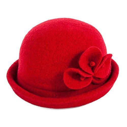 SIGGI Wolle rote 1920s Retro Derby Kirche Hüte für Damen Filzhut Fedorahüte Klassisch Bowler Hut (Klassische Derby-hut)