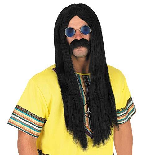 Fun Shack Herren Costume Kostüm, Long Straight Black Hippie Wig, Einheitsgröße (Einfache 1970er Jahre Kostüm)