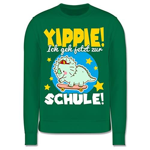 Shirtracer Einschulung und Schulanfang - Yippie! Ich GEH jetzt zur Schule Dinosaurier - Gelb - 9-11 Jahre (140) - Grün - JH030K - Kinder Pullover (Süße Oberteile Für Die Schule)