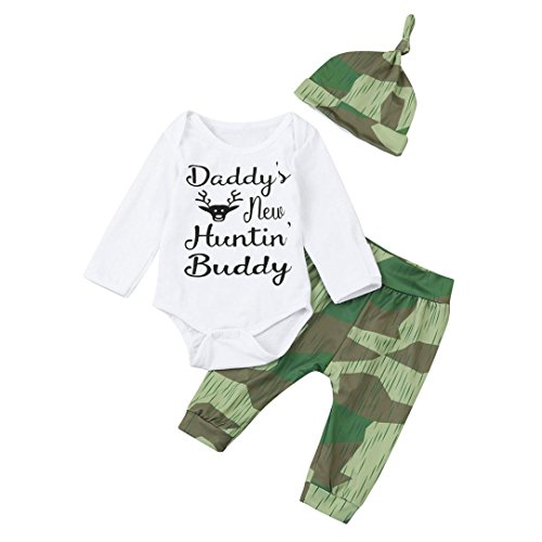 Baby Outfits, FEITONG Baby Boys Girls Briefe Daddy's New Huntin Buddy Tops + Cartoon Hosen + Hut Outfits (6M, (Grüner Trenchcoat Kostüm)