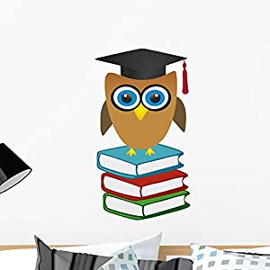 Wallmonkeys WM54466 Owl and Books - Graduation Peel and Stick Wall Decals