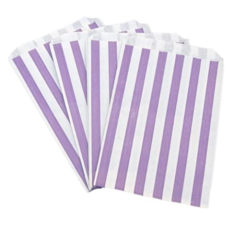 50x Purple Candy Stripe Sweet/Gift Paper Bags - 5