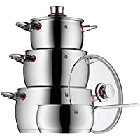 WMF Quality One Topfset, 4-teilig, mit Glasdeckel, Kochtopf, Stielkasserolle, Cromargan Edelstahl poliert, Dampföffnung, induktionsgeeignet, spülmaschinengeeignet