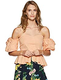 Stalk Buy Love Women's Cotton Coral Eudora Off Shoulder Top