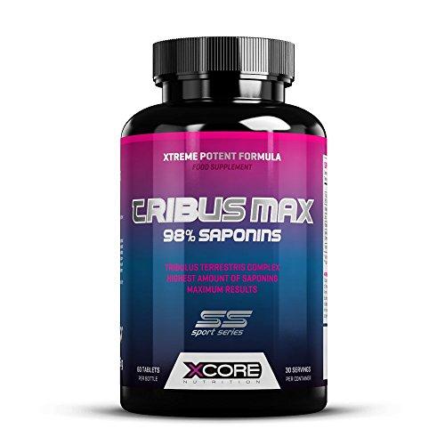Xcore tribus max 98% saponins tabs- integratore naturale, sicuro & efficace di tribulus terrestris amplificatore di testosterone migliora la crescita del muscolo & la prestazione sessuale -30 porzioni