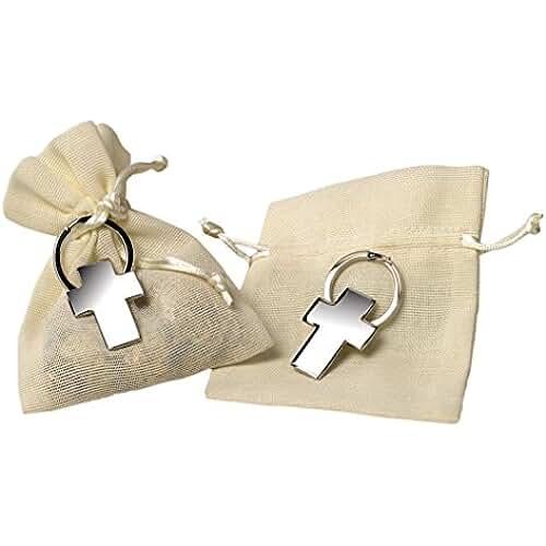 ideas regalos para comuniones kawaii Mopec M639 - Llavero de metal con forma de cruz, pack de 10 unidades