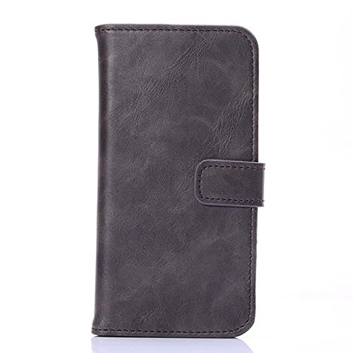 Crazy Horse Texture Faux Leder Brieftasche Tasche, Horizontale Folio Stand Case Cover mit Kickstand & Card Slots & Magnetische Verschluss für iPhone 6 & 6s ( Color : Brown ) Gray