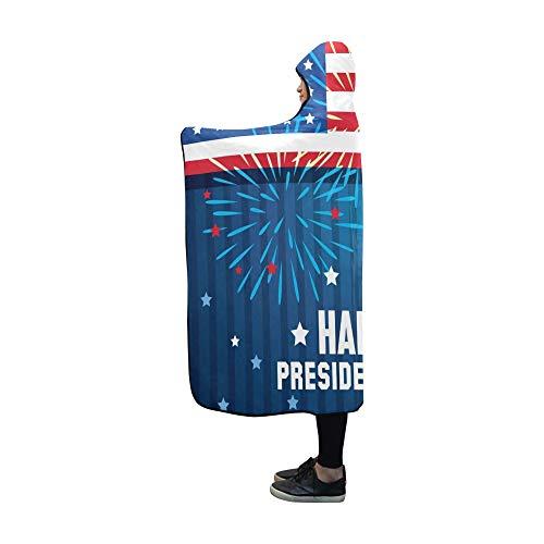 Mit Kapuze Decke Happy Presidents Day Poster Decke 60 x 50 Zoll Comfotable Hooded Throw Wrap -