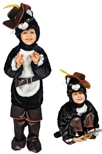 lüsch-Overall Kinderkostüm Schwarz 98/104 (3-4 Jahre) (Der Gestiefelte Kater Kostüm)