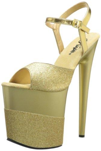 Pleaser Flamingo-809-2g, Sandales  Bout ouvert femme - D'Oro (Gold Gltr/Gold-Gltr)