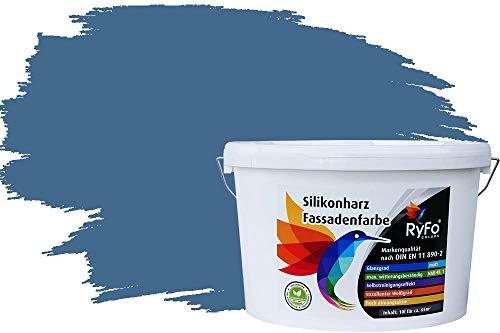 RyFo Colors Silikonharz Fassadenfarbe Lotuseffekt Trend Fernblau 10l - bunte Fassadenfarbe, weitere Blau Farbtöne und Größen erhältlich, Deckkraft Klasse 1