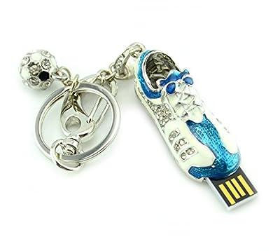 Fives® 8GB kristall Sport Schuh USB Stick high speed Farbe Blau mit Weiß