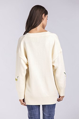 WanYang Femmes Top Pull Jumper Sweater Outwear Col V Manches Longues Top Blouse Pull Shirt Automne Pull Casuel Beige