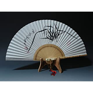 Hand Painted Folding Black Chinese Ink Orchid Painting Korean Mulberry Rice White Paper Bamboo Art Handheld Decorative Fan