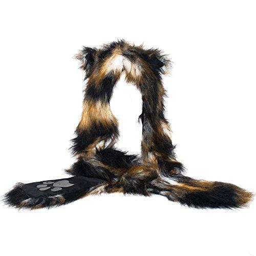 León de la piel de imitación de animales 3 en 1 sombrero de la bufanda de la redecilla Guante manopla Conjunto