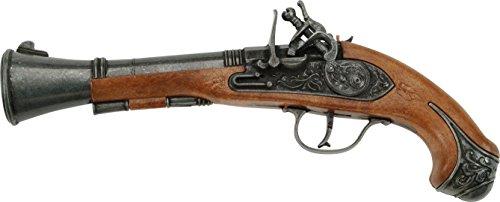 J.G.Schrödel Blunderbuss Pirat: Spielzeugpistole für Zündplättchen, ideal für das Piraten-Kostüm, in Box, für 100-Schuss-Munition, 27 cm, braun / grau (503 1699)