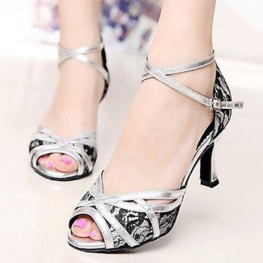 Scarpe da ballo-Personalizzabile-Da donna-Balli latino-americani / Jazz / Sneakers da danza moderna / Moderno-Quadrato-Finta pelle-Nero / Red