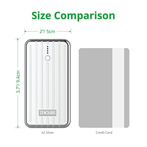Zendure A2 Power Bank 6700mAh – Ultra-durable Portable External Battery Charger for iPhone, Android and More, PC Advisor Winner 2014-2017, Lightweight and Compact– Silver