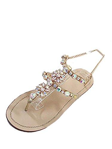 Knöchelriemchen Damen Offene Sandale T-Spange Sandals Sommer Schnallen Sandalen Bohemia Sandalen Schuhe Strandschuhe Low Schuhe Römersandalen Hausschuhe Schuhe Fashion Abendschuhe LMMVP (44, Gold)