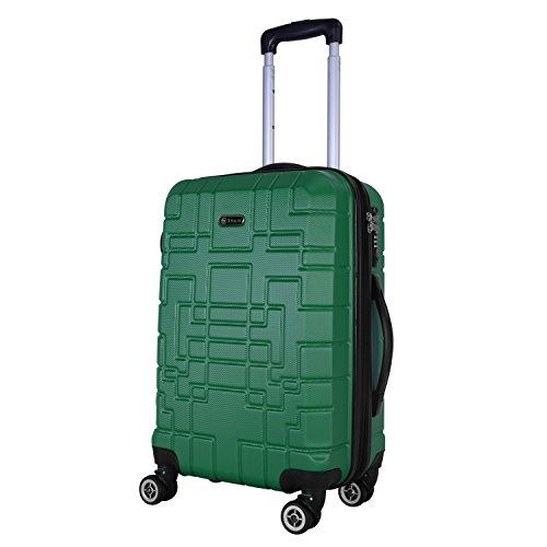 Shaik Serie XANO HKG Design Hartschalen Trolley, Koffer, Reisekoffer, in 3 Größen M/L / XL/Set 50/80/120 Liter, 4 Doppelrollen, TSA Schloss (Handgepäck M, Grün)