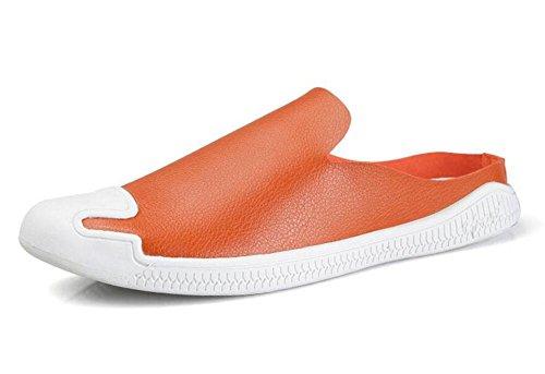 SHIXR Hommes Chaussons Ouverts Chaussures Baotou Semi-Drag Simple Chaussures Simple Tide Mâle Bouche Peau Micro-Fibre Casual Sandales Orange