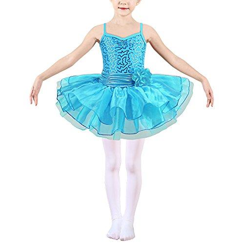HUANQIUE Mädchen Ballettkleid Kinder Ballettanzug Tanz Trikot mit Tüll Röcken Blue XL
