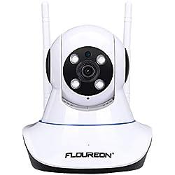 FLOUREON Caméra de Sécurité Caméra IP WiFi 1080p Caméra de Surveillance Sans Fil 2,0MP ONVIF Vision Nocture, Détection du Mouvement Surveillance à Distance par PC Smartphone Support Carte SD