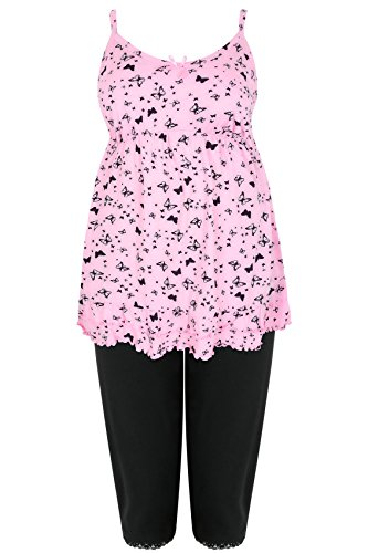 417%2B436eCFL - BEST BUY #1 Womens Pink & Black Butterfly Print Pyjama Top & Cropped Bottoms, Plus Size 14 T Size 22-24 Grey Reviews and price compare uk
