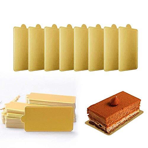 Mini cuadrado cartón dorado decoración tartas, 100