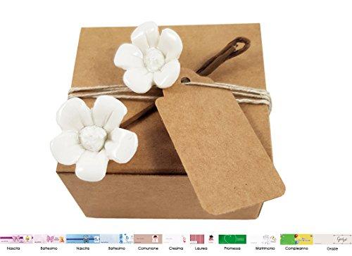 Irpot 10 scatoline portaconfetti pudp22 + 10 decorazioni fiori porcellana cer411 + 10 bigliettini kit fai da te