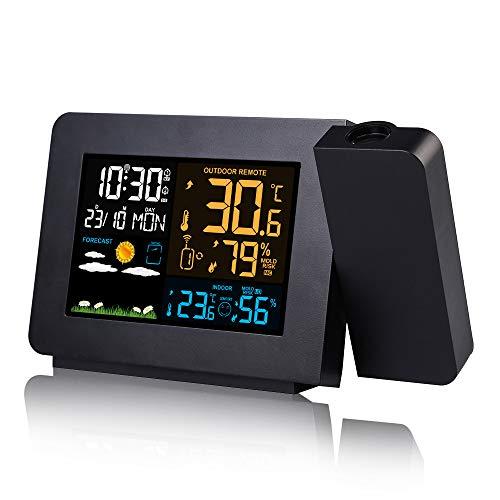 Konesky Reloj Despertador de proyección con estación meteorológica inalámbrica Reloj termómetro...