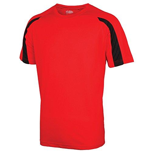 AWDis Herren Modern T-Shirt Fire Red/ Jet Black