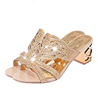 Women Rhinestone Slippers Open Toe Shoes Bohemia High Heels Party Shoes for Women Summer Fashion Casual Comfortable Soft Riou Rose Gold