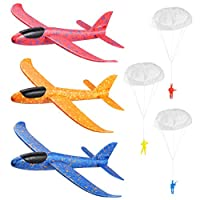 """Toyvian 3 Pack Airplane Toys,14.57""""Foam Glider Plane,Manual Throwing,Fun Challenging, Model Plane Foam,Outdoor Sport Game Toys,Flying Toy for Kids with 3 Paratroopers"""