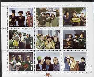Mongolia 1998 The Three Stooges (Comedy series) perf m/s #2 9 values u/m, SG MS 2697b FILMS CINEMA COMEDY GOLF JandRStamps (60905) (Golf Stooges Three)