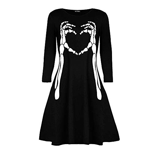 MIRRAY Damen Halloween Kleider Vampir Horror Blut Bedrucktes Kostüm Swing Kleid Schwarz (Irische Mädchen Halloween-kostüm)