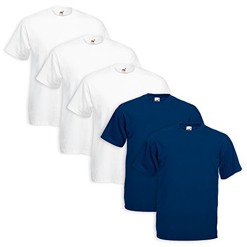 Set 5 t-shirt fruit of the loom (3 pezzi bianco 2 blu navy - xl - 6)