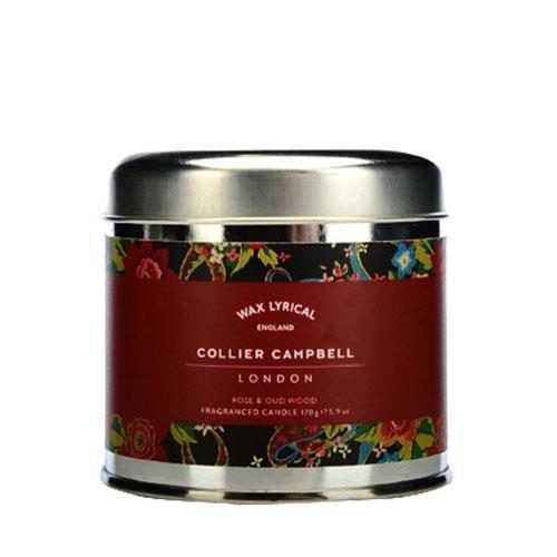 WAX LYRICAL Bougie Parfumée & Sa Boite Métal - Rose & Oud Wood - Collier Campbell