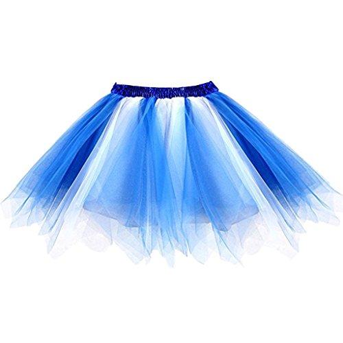 Ellames Damen 50er Vintage Petticoat Party Dance Tutu Rock Ballkleid Blau-weiß L/XL