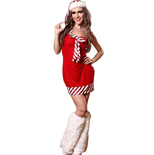 Marcus R Caveggf Frauen Santa Sexy Weihnachten Weihnachten Fräulein Damen Mrs Bowknot Claus Nette Festliche Kostüm Outfit, l (Including Legs) (Outfit Kostüm Leg)