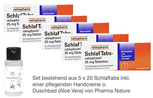 Schlaftabs ratiopharm Sparset - 5x20 Tabletten - inkl. einer hochwertigen Handcreme von Pharma Nature (Apotheken-Express)