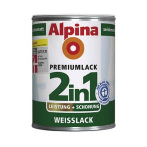 ALPINA 2in1 Premium Lack, Weisslack, glänzend, 250 ml, Innen & Außen